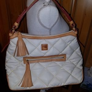 DOONEY BOURKE SPICY WHITE LEATHER QUILTED TOTE